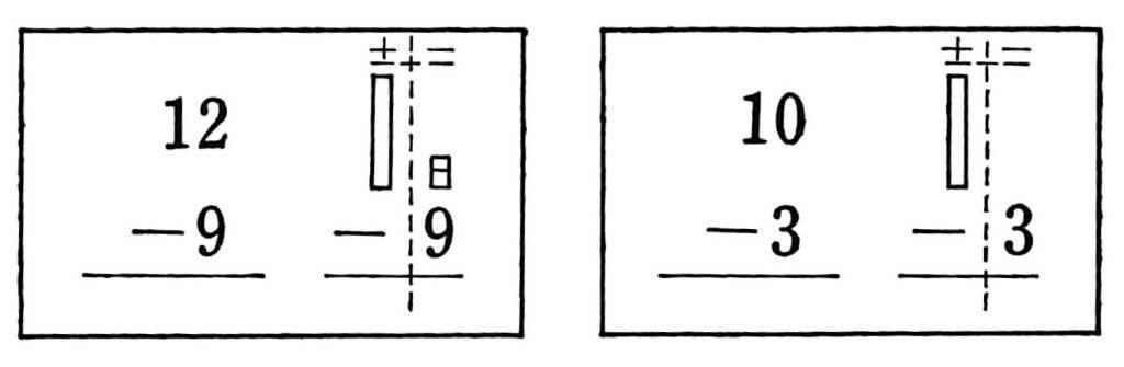 くりさがりのあるひき算の計算カード